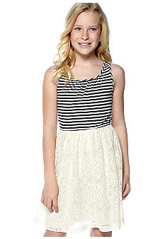 Speechless Stripe Bow Crochet Dress Girls 7-16