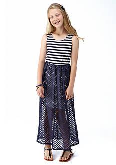 Speechless Stripe to Lace Chevron Dress Girls 7-16