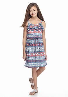 Speechless Elephant Print Flounce Dress Girls 7-16