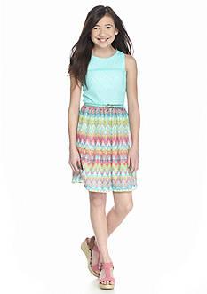 Speechless Lace to Printed Chiffon Dress Girls 7-16