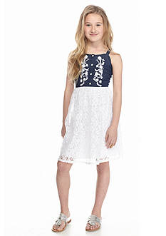 Speechless Embroidered Denim to Lace Dress Girls 7-16