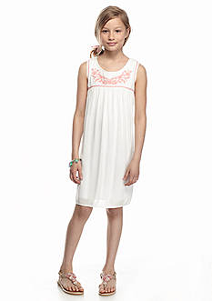 Speechless Embroidered Neck Solid Dress Girls 7-16