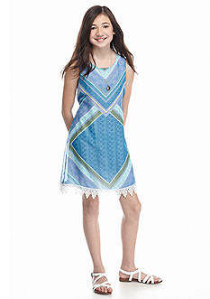 Speechless Scarf Print Crochet Shift Dress Girls 7-16