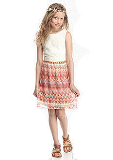 Speechless Lace to Tribal Print Dress Girls 7-16