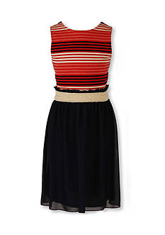 Speechless Knit Stripe to Mesh Dress Girls 7-16