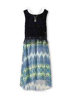 Speechless Lace Popover to Printed High Low Dress Girls 7-16