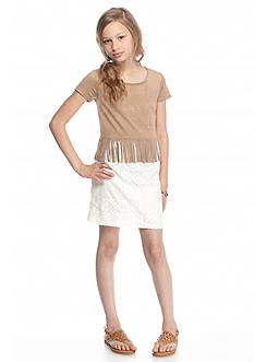 Speechless Faux Suede Fringe Lace Popover Dress Girls 7-16