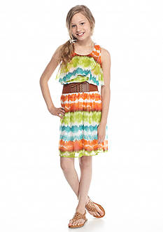 Speechless Flounce Tie Dye Belted Dress Girls 7-16