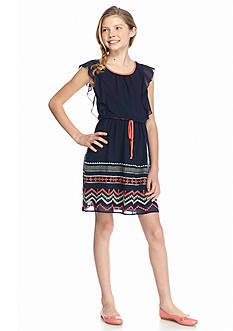 Speechless Embroidered Flutter Sleeve Dress Girls 7-16
