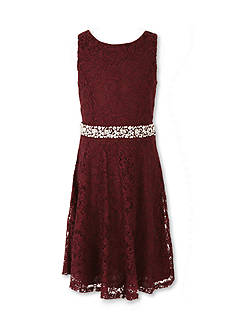 Speechless Lace Skater Jewel Waist Dress Girls 7-16