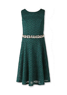 Speechless Glitter Lace Jewel-Waist Sleeveless Dress Girls 7-16