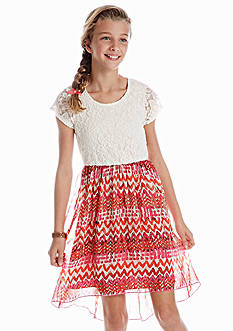 Speechless Lace to Hi Low Chevron Dress Girls 7-16