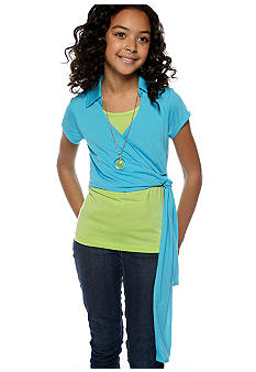 Speechless Tie Front Necklace Top Girls 7-16