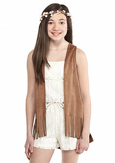 Speechless 2-Piece Lace Romper and Faux Suede Fringe Vest Girls 7-16