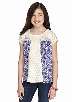 SEQUIN HEARTS girls Printed Crochet Inset Top Girls 7-16