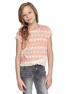 SEQUIN HEARTS girls Short Sleeve Print Crossover Fringe Top Girls 7-16