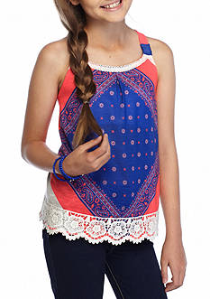 SEQUIN HEARTS girls Printed Scarf Lace High Low Tank Top Girls 7-16