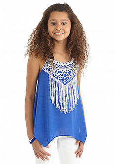 SEQUIN HEARTS girls Solid Fringe Tank Top Girls 7-16
