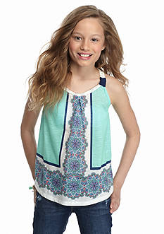 SEQUIN HEARTS girls Crochet Printed Swing Tank Top Girls 7-16