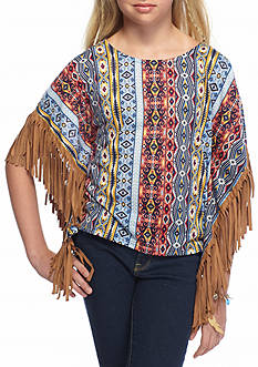 My Michelle Tribal Printed Suede Fringe Poncho Girls 7-16