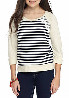 SEQUIN HEARTS girls Striped Sweatshirt with Solid Sleeves Girls 7-16