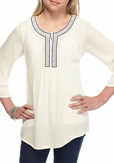 My Michelle Tribal Embroidered Tunic Top Girls 7-16
