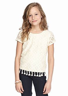 SEQUIN HEARTS girls Short Sleeve Crochet Top Girls 7-16