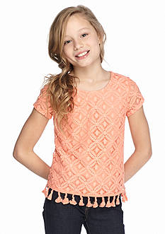 SEQUIN HEARTS girls Short Sleeve Crochet Top Girls 7-16