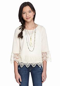 SEQUIN HEARTS girls Solid Crochet Hem Top Girls 7-16