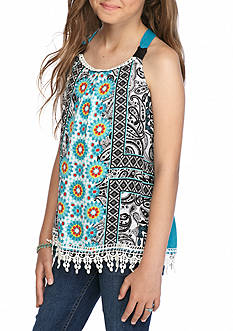 Sequin Hearts Printed Pom Pom Tank Top Girls 7-16