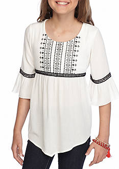 Sequin Hearts Bell Sleeve Peasant Tunic Girls 7-16