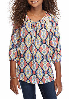 Sequin Hearts Geo Tribal Printed Tunic Top Girls 7-16