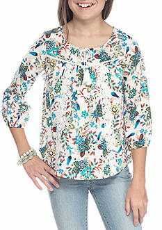 My Michelle Ivy Print Peasant Top Girls 7-16