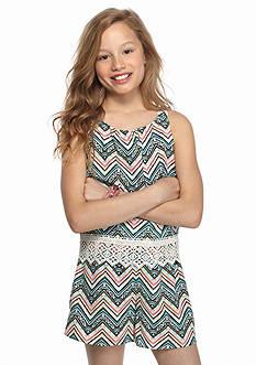 SEQUIN HEARTS girls Chevron Popover Crochet Romper Girls 7-16