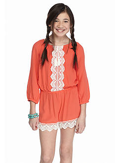 SEQUIN HEARTS girls Crochet Trim Romper Girls 7-16