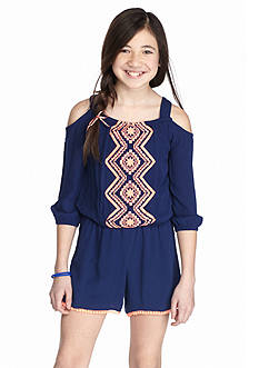 SEQUIN HEARTS girls Cold Shoulder Embroidered Romper Girls 7-16