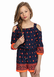 SEQUIN HEARTS girls Print Cold Shoulder Romper Girls 7-16