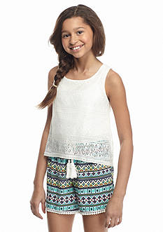 SEQUIN HEARTS girls Tribal Printed Lace Popover Romper Girls 7-16
