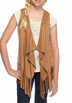 SEQUIN HEARTS girls Suede Fringe Vest Girls 7-16
