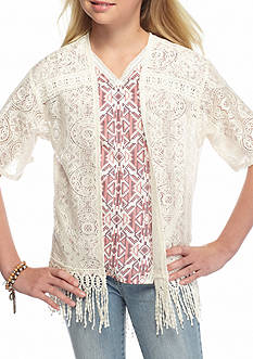 SEQUIN HEARTS girls Short Sleeve Lace Cozy Girls 7-16