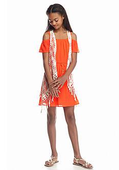 SEQUIN HEARTS girls 2-Piece Cold Shoulder Dress and Crochet Vest Girls 7-16