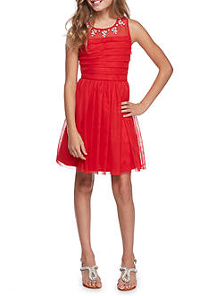 SEQUIN HEARTS girls Pleated Bodice Jeweled Illusion Neckline Dress Girls 7-16
