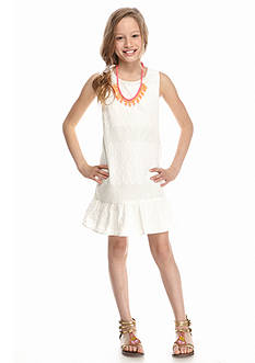 SEQUIN HEARTS girls Floral and Open Stitch Necklace Dress Girls 7-16