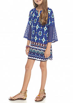 SEQUIN HEARTS girls Blue Print Shift Dress Girls 7-16