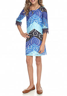 My Michelle Lace Overlay Chevron Shift Dress Girls 7-16
