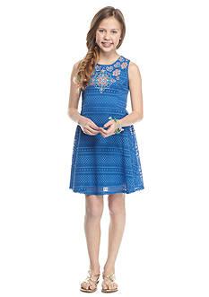 SEQUIN HEARTS girls Crochet Embroidered Dress Girls 7-16