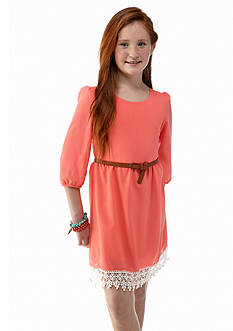 Sequin Hearts Solid Dress with Lace Hem Girls 7-16