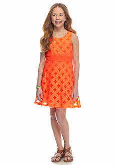 SEQUIN HEARTS girls Lace Overlay Skater Dress Girls 7-16