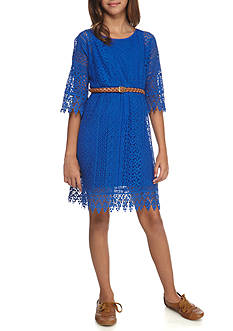 SEQUIN HEARTS girls Cold Shoulder Lace Braided Belt Dress Girls 7-16