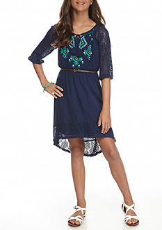 My Michelle Gauze Print Bodice Belted High Low Dress Girls 7-16